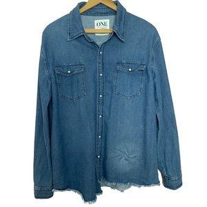 One Teaspoon Raw Hem Pearl Snap Chambray Top